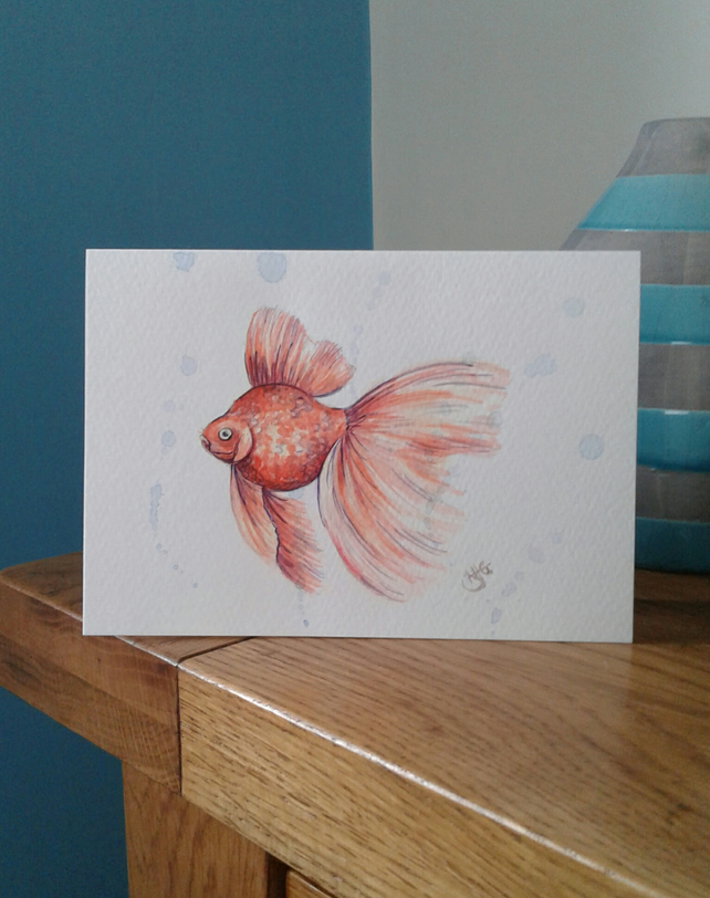 Hand painted fantail goldfish greeting card