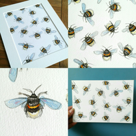 Fuzzy Buzzy original artwork of Little bumble bees