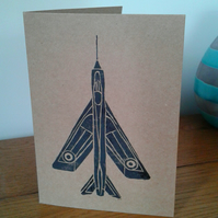 Electric lightening aircraft - Lino cut print - greetings card