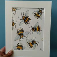 Fuzzy Buzzy original artwork of bumble bees