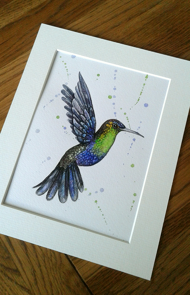 Original hand painted watercolour of a beautiful hummingbird