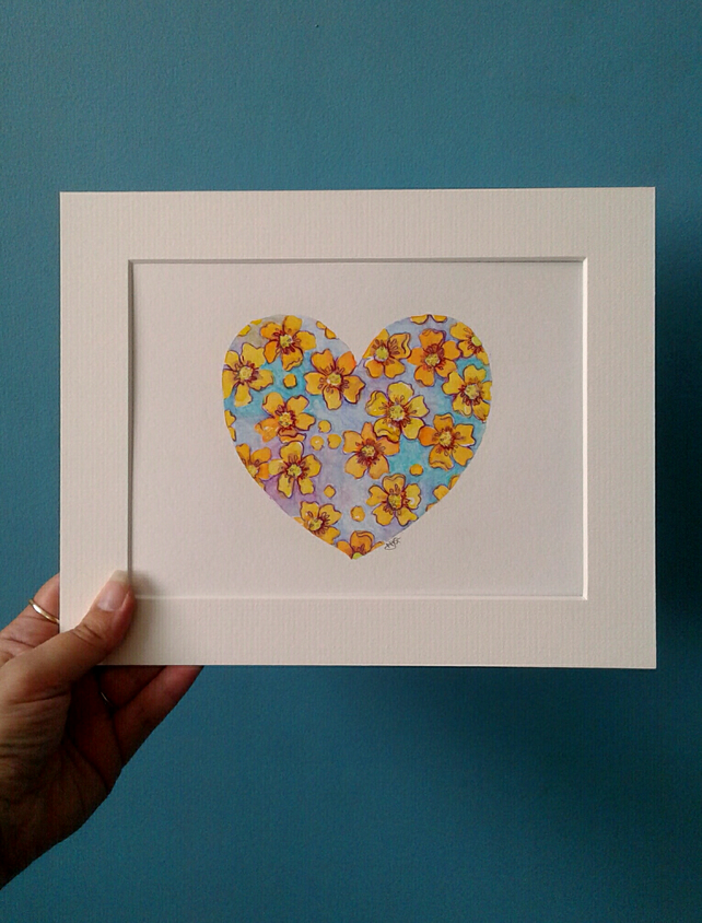 Original hand painted watercolour of buttercups in a heart