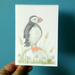 Hand painted puffin and thrift greeting card