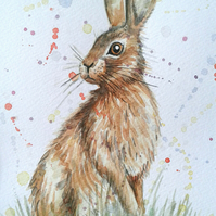 Original hand painted watercolour of a hare