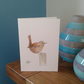 Hand painted Jenny wren greeting card