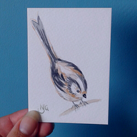 Original hand painted - watercolour aceo of an adorable long tailed tit.