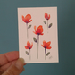 Original hand painted ACEO - watercolour of simple flowers in orange