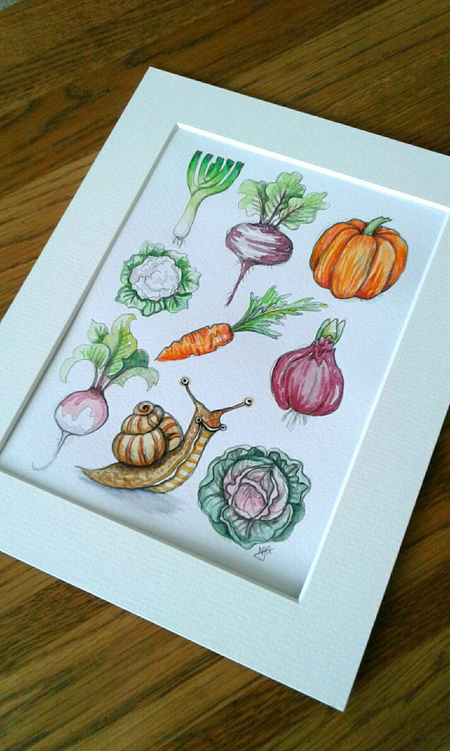 Happy snail in the vegetable patch - original watercolour artwork