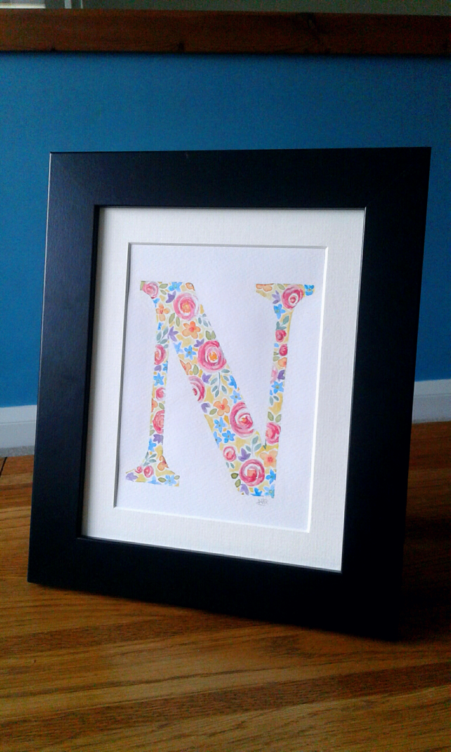 "Original watercolour of an initial ""N"" with hand painted flowers and glitter"