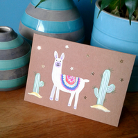 Llama and cactus greeting card