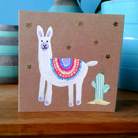 Llama and cactus greeting card small