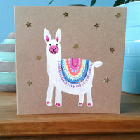 Llama greeting card, small