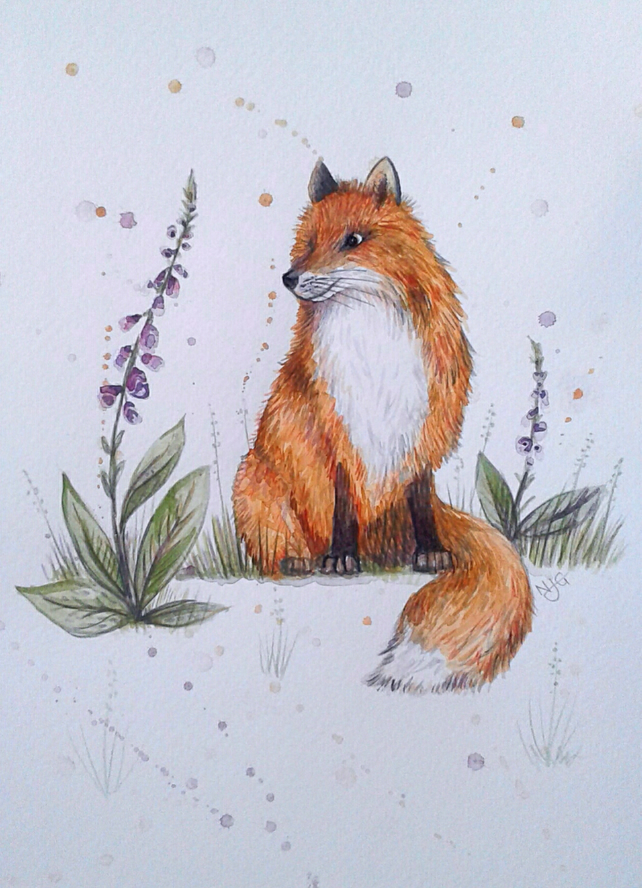 Fox amongst foxgloves - original artwork