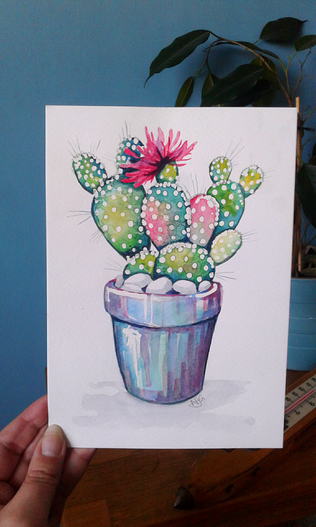 SALE - Cactus and flower - original artwork