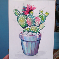 Cactus and flower - original artwork