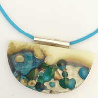 "half-moon abstract ""pebble"" pendant"