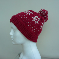 Snowflake Design Bobble Hat