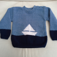 Baby's Long Sleeved Jumper with Boat Design