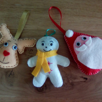 Felt Decorations x 3