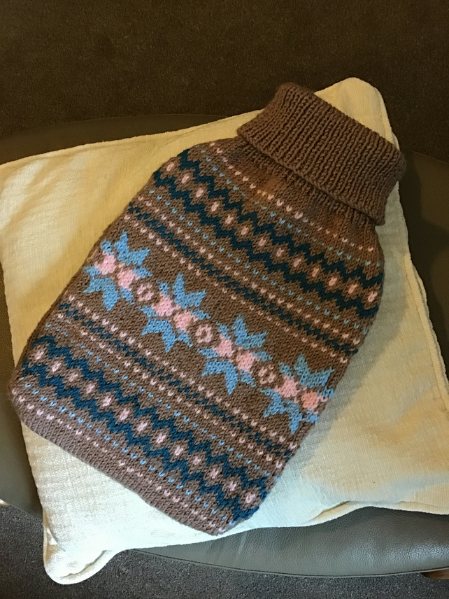 Cosy fair isle jumper style hot water bottle cover