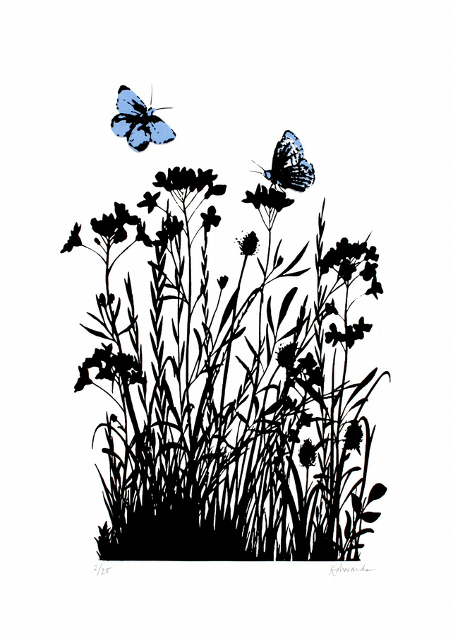 Limited edition wildflower screen print - Common Blue