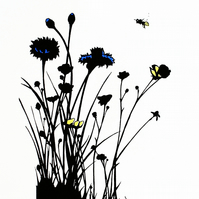 Wildflower screen print - limited edition print - Cornflowers and Buttercups