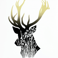 Limited edition screen print, stag print, hand printed deer with wildflowers