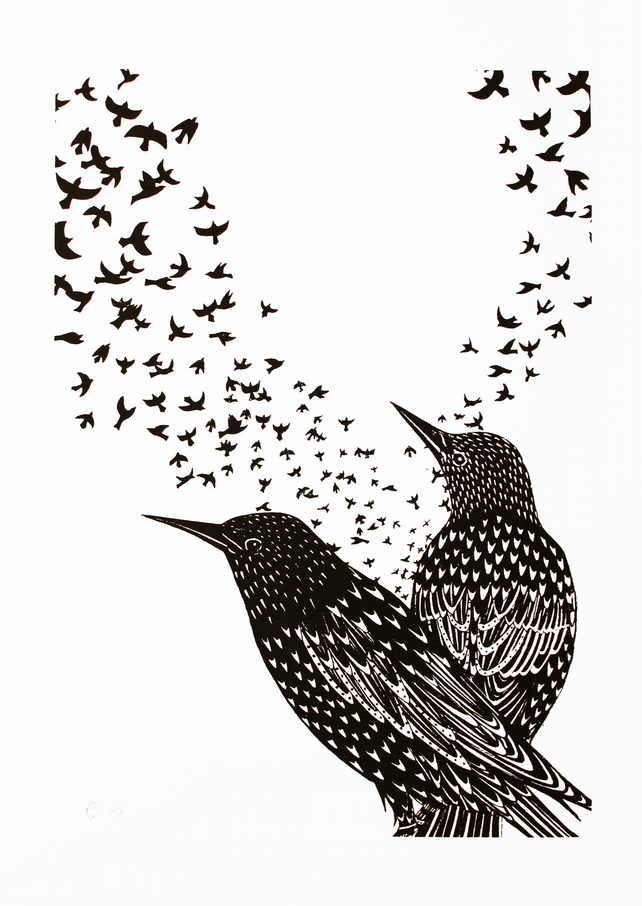 Limited edition starling screen print in black and white, 25 x 35cm print