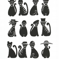 Cats in Hats screen print, hand printed cats