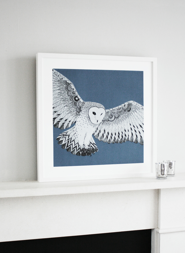 Limited edition owl screen print - hand printed barn owl - 50 x 50cm