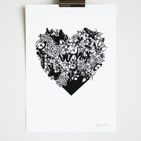 A4 screen print, hand printed heart with flowers and butterflies