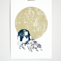 Full Moon, hand printed, limited edition screen print, bird of prey print