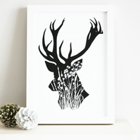 Framed stag print, stag's head silhouette in black and white, A4 framed print