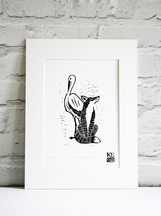 Fox and stork linocut print, limited edition children's illustration