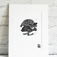 hare and tortoise linocut print, limited edition illustration