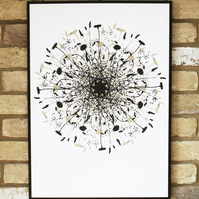 screen print, limited edition hand printed art, contemporary wild flower print