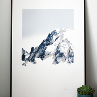 Hand printed mountain art - screen print of Mont Blanc du Tacul - 50 x 70cm