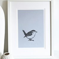 Wren screen print - hand printed garden bird illustration