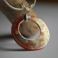 Burnished Copper and Silver Pendant