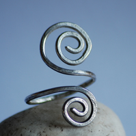 Hammered sterling Silver Spiral Ring