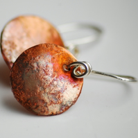 Burnished Copper and Silver earrings