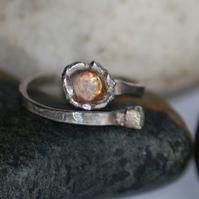 Sterling Silver Ring With Water Casting