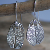 Silver Leaf Print Earrings