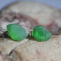 Beautiful Emerald Green Sea Glass Studs
