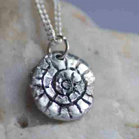 Pure Silver 'Ammonite' and Moon Pendant