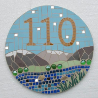 Mosaic house number sign plaque; variety of sizes and designs available