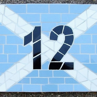 Mosaic house number, Scottish flag,personalised, made to order