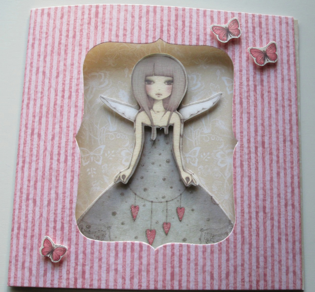Butterfly Blank Greetings Card, Handmade - Valentine