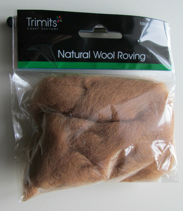10g Natural Wool Roving in colour Coffee