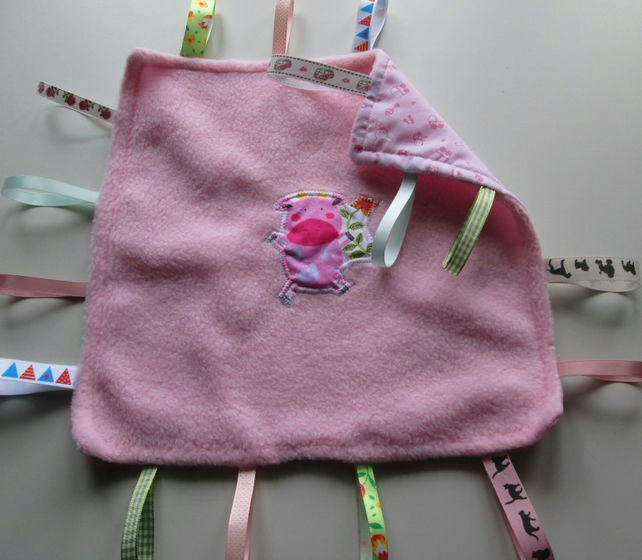 Pink Pig Applique Taggie Toy - Comfort Blanket